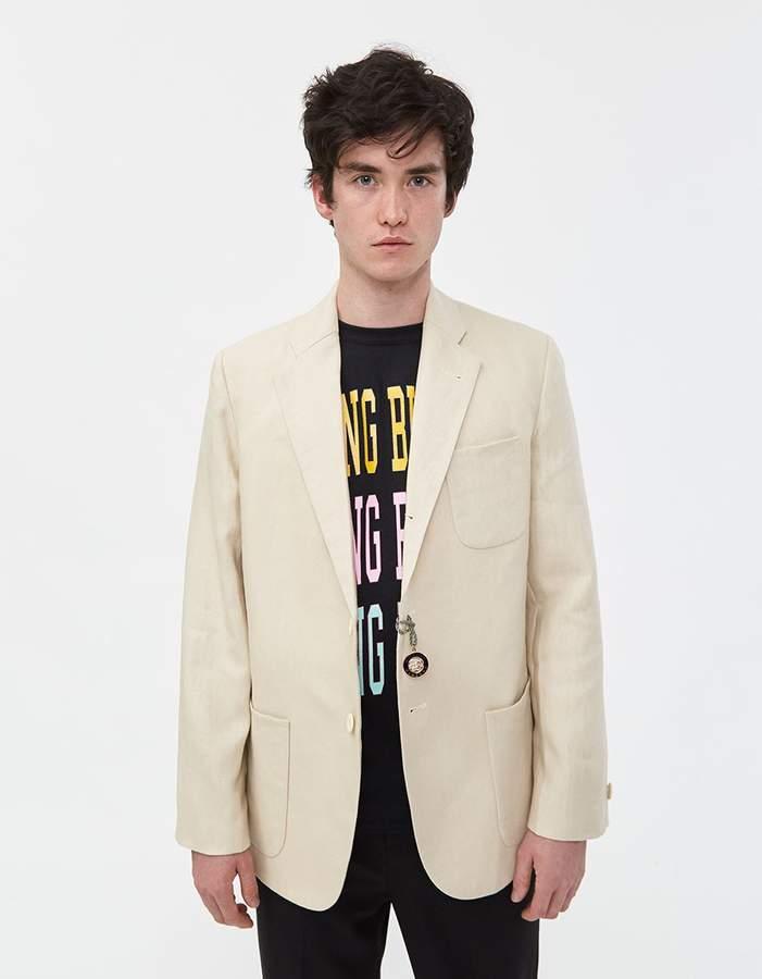 Rowing Blazers Single-Breasted Linen Jacket in Cream