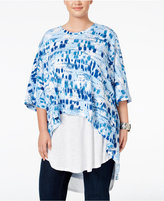 Melissa McCarthy Trendy Plus Size Layered Look High-Low Top