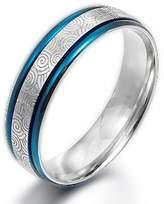 Gemini Men 2 Tone Blue Silver Couple Anniversary Titanium Ring width 6mm US Size 10.25 Valentine Day Gift