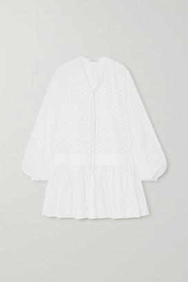 MATIN Broderie Anglaise Cotton Mini Dress - White