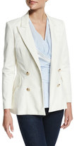 Derek Lam 10 Crosby Double-Breasted Stretch Blazer, Soft White