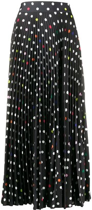 Christopher Kane Long Polka-Dot Pleated Skirt
