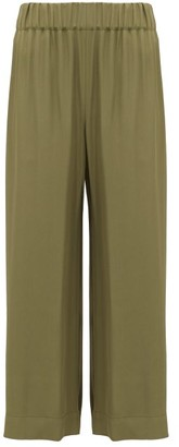 Raey Cropped Elasticated-waist Twill Trousers - Khaki