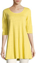 Eileen Fisher Half-Sleeve Linen Jersey Layering Tunic, Plus Size