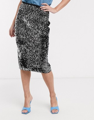 Ichi sequin midi skirt