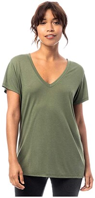 Alternative Melange Burnout Jersey Slinky V-Neck (Army Green) Women's Clothing