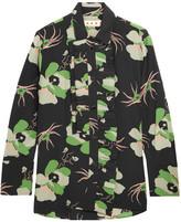 Marni Ruffled Floral-print Silk Crepe De Chine Blouse - Green