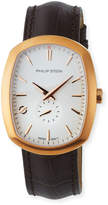 Philip Stein Teslar Large Modern Watch with Leather Strap, Brown