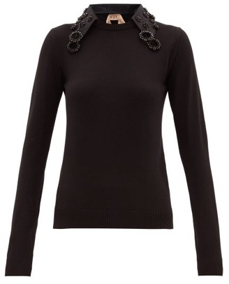 No.21 No. 21 - Crystal-embellished Collar Wool Sweater - Womens - Black
