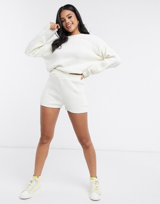 ASOS DESIGN co-ord knitted shorts in cream
