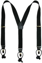 Geoffrey Beene Mens Button and Clip End Convertible Pin Stripe Suspenders, Black