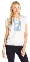 Lucky Brand Women's Embroidered Smock Top