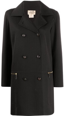 Hermes 1990s Pre-Owned Thigh-Length Double-Breasted Coat