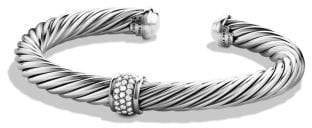 David Yurman Cable Classics Bracelet With Diamonds And 18K White