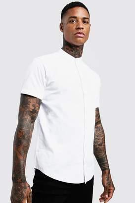 BoohoomanBoohooMAN Mens White Cotton Poplin Grandad Shirt In Short Sleeve, White