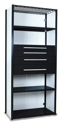 """Equipto V-Grip 84"""" Shelving with Drawers Unit - 4Drw/5Shelf Closed Starter, 4 drawers - 3"""",4.5"""", 6"""", 7.5"""" H; 200 lb capacity Equipto Finish: Textured Black,"""