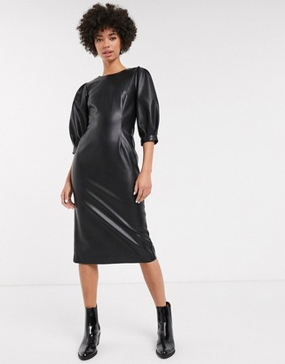 Monki faux leather midi dress in black