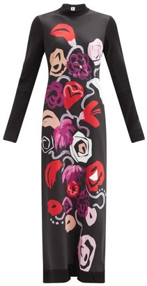 Marni Floral-print Technical Jersey Maxi Dress - Black White