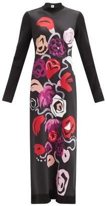 Marni Floral-print Technical Jersey Maxi Dress - Black White