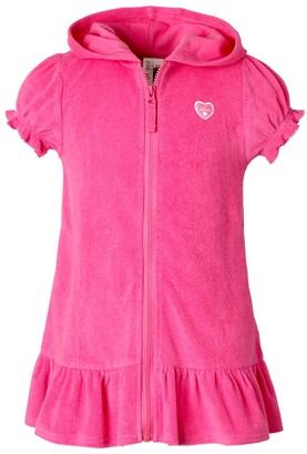 Pink Platinum Girls' Swimsuit Coverups KNOCK - Knock Out Pink Ruffle-Hem Cover-Up - Girls