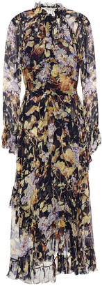 Zimmermann Pussy-bow Floral-print Silk-voile Midi Dress