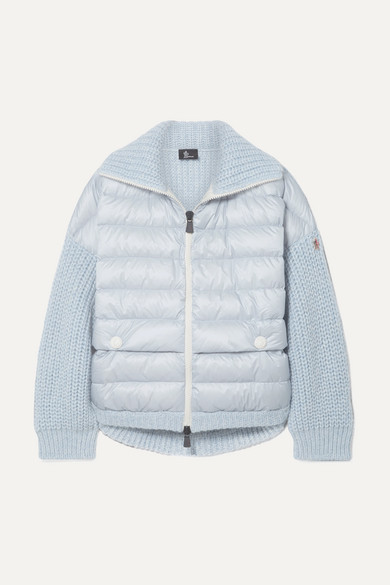 Moncler Oversized Quilted Shell And Knitted Cardigan - Sky blue
