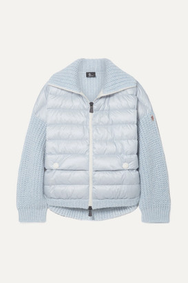 MONCLER GRENOBLE Oversized Quilted Shell And Knitted Cardigan - Sky blue