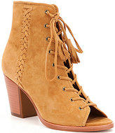 Frye Dani Suede & Leather Whipstitch Lace Up Peep Toe Shooties
