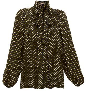No.21 No. 21 - Polka Dot Print Pussybow Blouse - Womens - Black Yellow