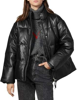 Sandro Ezra Quilted Leather Puffer Coat