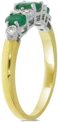 Love Gem 9ct Gold Emerald & 7 Point Diamond Eternity Ring