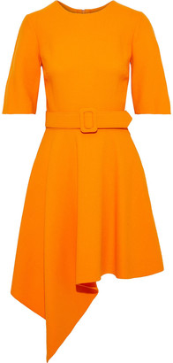 Oscar de la Renta Asymmetric Belted Wool-blend Crepe Dress