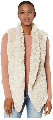 Dylan by True Grit Ultra Lux Plush Pia Knit Faux Fur Vest (Natural) Women's Clothing