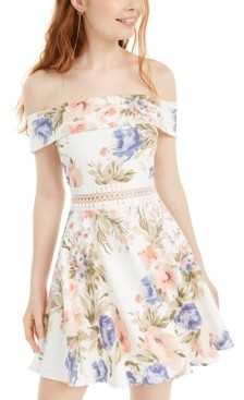 B. Darlin Juniors' Off-The-Shoulder A-Line Dress
