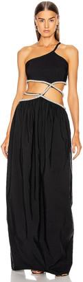 CHRISTOPHER ESBER Crystal Tie Cocoon Dress in Black | FWRD