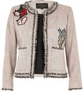 River Island Womens Pink embroidered tweed jacket
