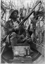 Historic Photographs Photo: Duck hunting season open now,shooting,blind,dead animals,Bath,Illinois,IL,1910