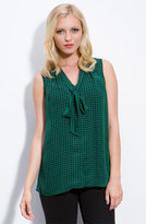 Nordstrom Pleione Sleeveless Houndstooth Bow Top