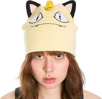 Bioworld Pokemon Meowth Big Face Fleece Cap Beanie with Ears