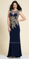 Dave and Johnny Embroidered Lace Illusion Evening Dress