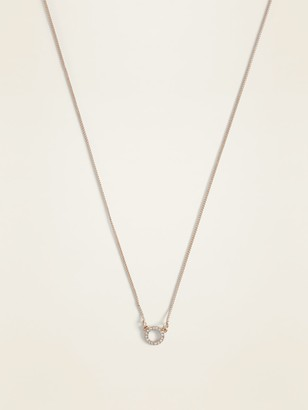 Old Navy Rhinestone Circle Pendant Necklace for Women