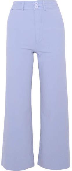 Apiece Apart Merida Cropped Cotton-canvas Wide-leg Pants - Lilac