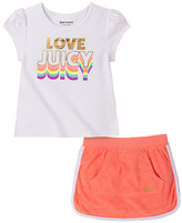 Juicy Couture Girls' Casual Skirts 2103 - White Logo Puff-Sleeve Top & Orange Contrast-Trim Skort - Infant, Toddler & Girls