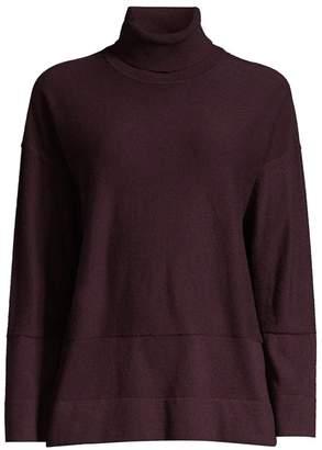 Donna Karan Long-Sleeve Wool-Blend Turtleneck Sweater
