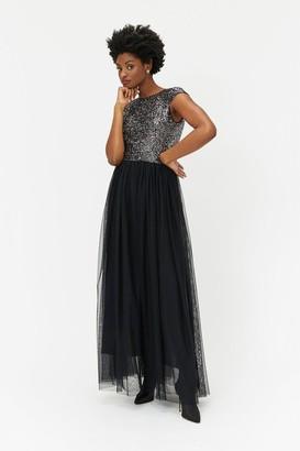 Coast Sleeveless Sequin Bodice Tulle Skirt Maxi Dress