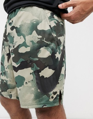 Nike Training dry 5.0 shorts in all over green camo