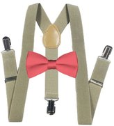 MXI Designs Light Brown Suspender and Bow ties Set Combo in Kids Boys Toddler Baby Mens