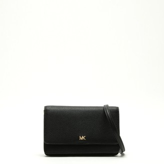 Michael Kors Black Pebbled Leather Phone Case Cross-Body Bag