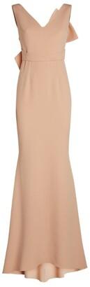 Safiyaa Bow-Back Tiffany Gown