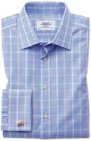 Charles Tyrwhitt Classic Fit Prince Of Wales Blue Cotton Dress Shirt Size 15.5/34